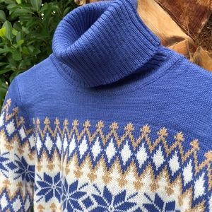Boutique Dresses - ✨HP!✨Blue Fair Isle Turtleneck Sweaterdress✨